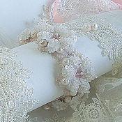 """Украшения ручной работы. Ярмарка Мастеров - ручная работа Вышитый браслет """"Madame de Fleur"""". Пайетки, жемчуг, ручная вышивка.. Handmade."""