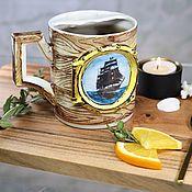 Посуда handmade. Livemaster - original item Pirate`s mug for moustache porcelain. Handmade.