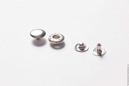Кнопки металлические 10 мм, цвет: хром.  Большой выбор металлических кнопок для одежды. Швейная фурнитура.