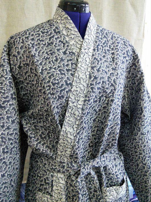 Халаты ручной работы. Ярмарка Мастеров - ручная работа. Купить Льняной халат мужской. Handmade. Льняной халат, халат из льна