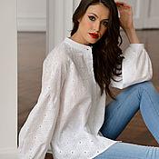 Одежда handmade. Livemaster - original item Boho-style cotton blouse, loose, white. Handmade.