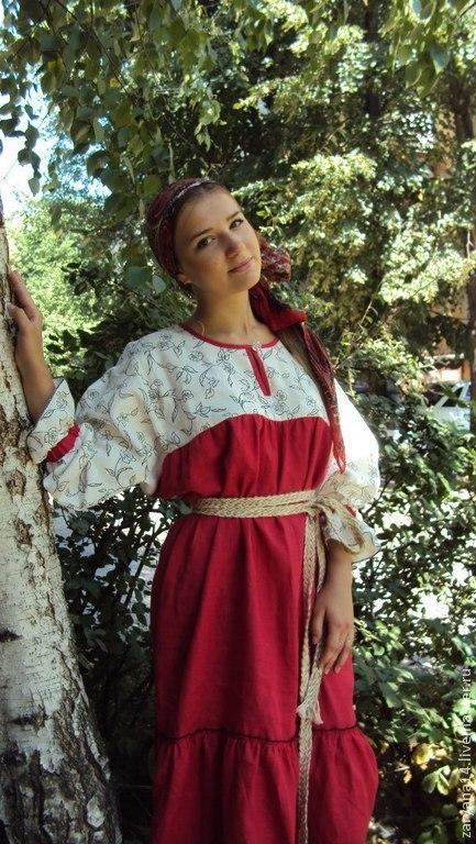 Одежда ручной работы. Ярмарка Мастеров - ручная работа. Купить Платье бело-розовое на основе алтайского кроя. Handmade.