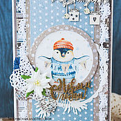 Открытки ручной работы. Ярмарка Мастеров - ручная работа Новогодняя открытка с пингвином-2. Handmade.