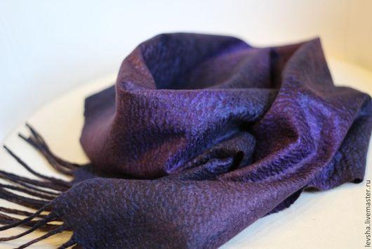 Шарф мужской валяный, шерстяной, войлочный, шелковый, с бахромой, на заказ. Валяный шарф для мужчины. Мужской подарок. Шарф на заказ. Любые цвета и размеры.