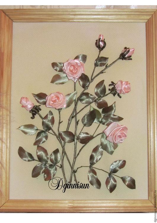 Картины цветов ручной работы. Ярмарка Мастеров - ручная работа. Купить картина Нежность. Handmade. Вышитая картина, для интерьера, комбинированный