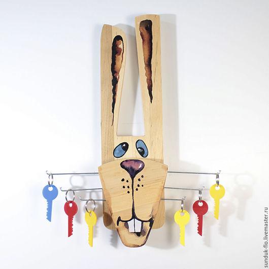 """Прихожая ручной работы. Ярмарка Мастеров - ручная работа. Купить Ключница настенная """"Усатый заяц"""". Handmade. Бежевый, деревянный заяц"""