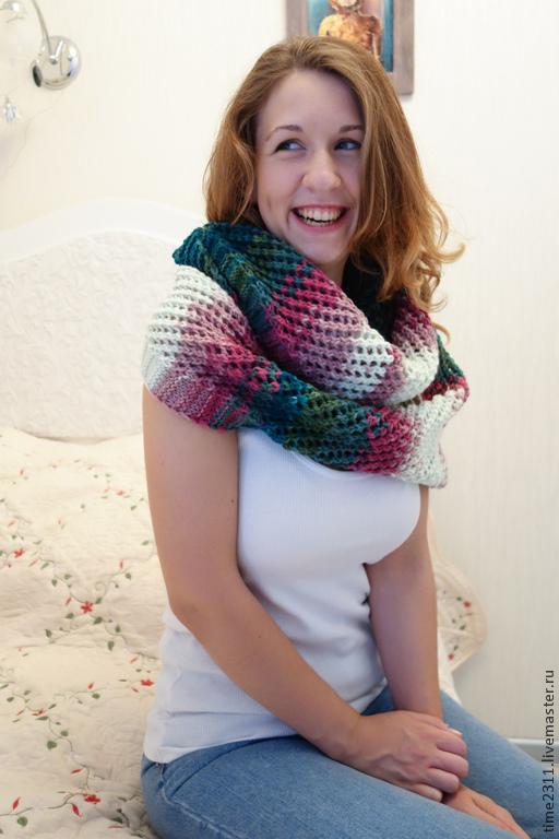 Шали, палантины ручной работы. Ярмарка Мастеров - ручная работа. Купить Скидка 20% шарф снуд Радость. Handmade. Шарф