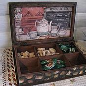 Для дома и интерьера ручной работы. Ярмарка Мастеров - ручная работа Чайная шкатулка-книга Шоколадное настроение-2. Handmade.