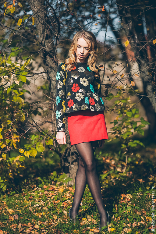 Блузки ручной работы. Ярмарка Мастеров - ручная работа. Купить Жаккардовая блуза с баской. Handmade. Черный, блуза, блузка нарядная
