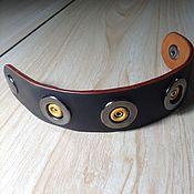 Украшения handmade. Livemaster - original item Bracelet women`s black leather button with metal decoration.. Handmade.