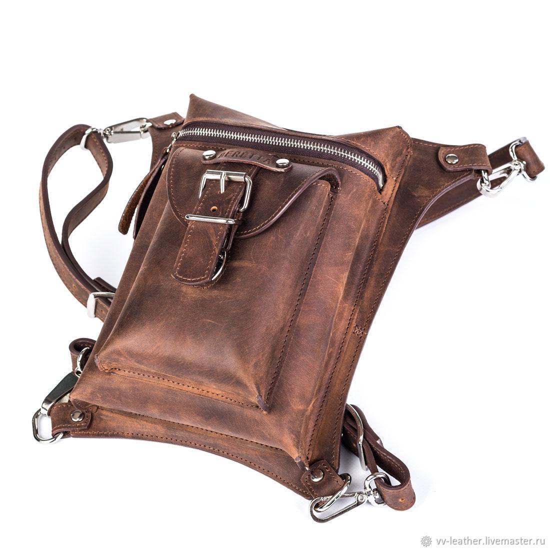 Мужские сумки ручной работы. Ярмарка Мастеров - ручная работа. Купить Сумка кожаная набедренная Mod.SN_001. Handmade. Коричневый