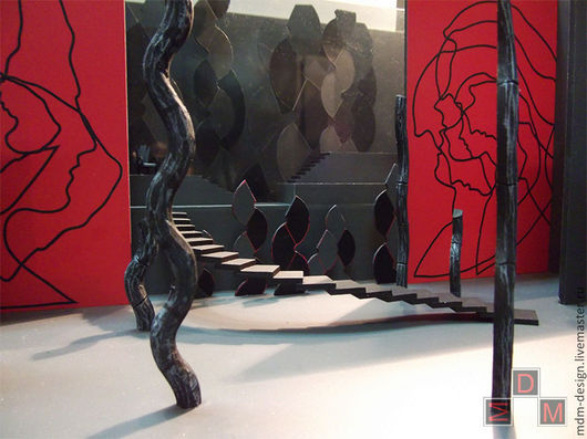 Макет проекта  декораций к спектаклю `Пиковая дама` Масштаб макета 1:40.