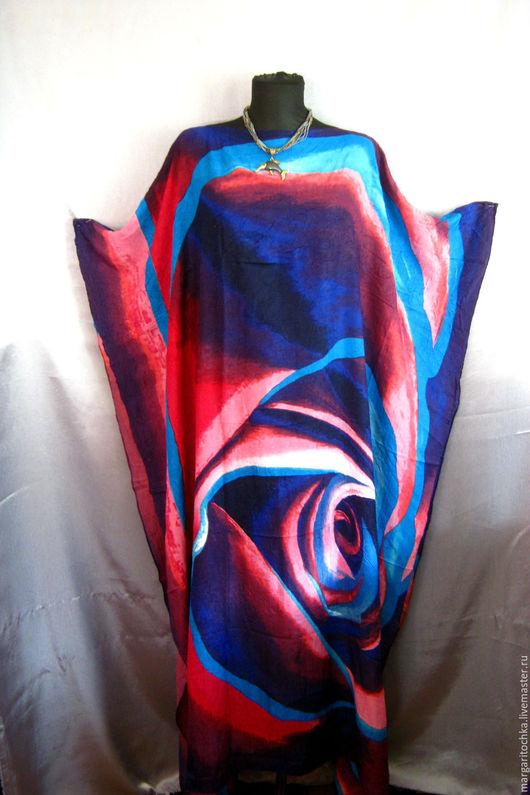 """Большие размеры ручной работы. Ярмарка Мастеров - ручная работа. Купить """"Фиолетовая роза"""" пляжное платье. Handmade. Свободное платье"""