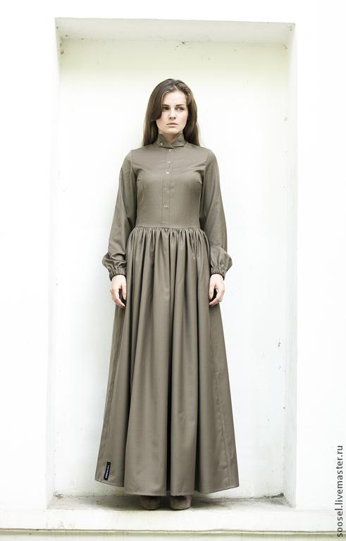 """Платья ручной работы. Ярмарка Мастеров - ручная работа. Купить Платье """"Оливка"""" в пол. Handmade. Оливковый, платье, мода, осень"""