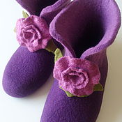Slippers handmade. Livemaster - original item Boots women`s felted. Handmade.