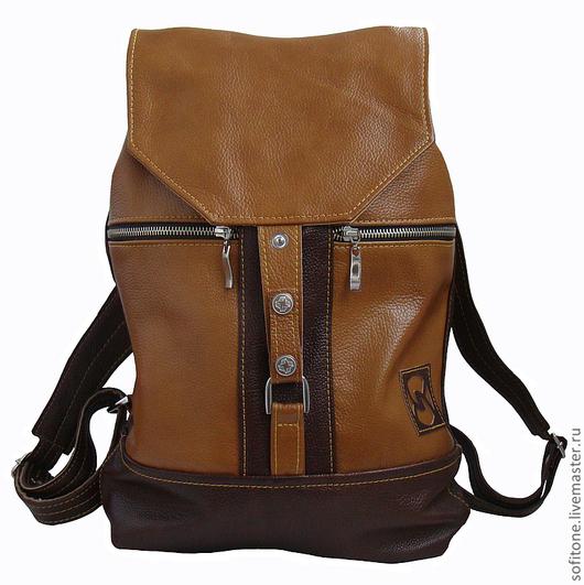 Рюкзаки ручной работы. Ярмарка Мастеров - ручная работа. Купить Рюкзак кожаный Темно-песочный с коричневым. Handmade. Рюкзак кожаный