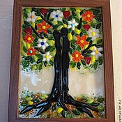 """Для дома и интерьера ручной работы. Ярмарка Мастеров - ручная работа Панно """"Древо жизни"""",фьюзинг. Handmade."""