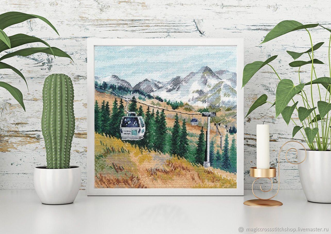 "Вышитая картина ""Гора Чимбулак"" от Овен, Картины, Суходол,  Фото №1"