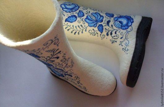 """Обувь ручной работы. Ярмарка Мастеров - ручная работа. Купить Валенки  """"Гжель"""". Handmade. Белый, зима, женские сапоги"""