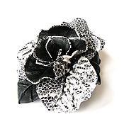 Украшения handmade. Livemaster - original item Leather brooch rose jungle black and white Python print. Handmade.