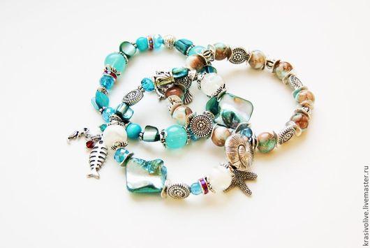 """Браслеты ручной работы. Ярмарка Мастеров - ручная работа. Купить Комплект браслетов """"Морской"""". Handmade. Голубой, многорядный браслет"""