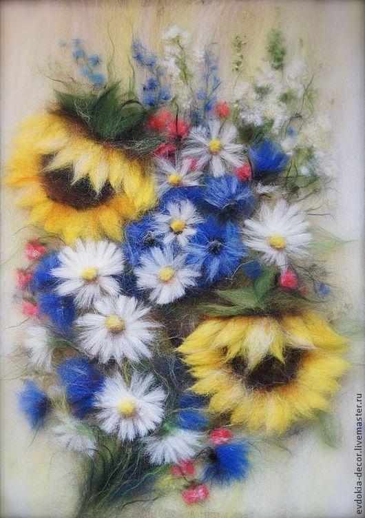 Картины цветов ручной работы. Ярмарка Мастеров - ручная работа. Купить Букет с ромашками (картина из шерсти). Handmade. Картина в подарок