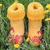 """Обувь ручной работы. Ярмарка Мастеров - ручная работа Валенки детские """"Хохлома солнечная"""". Handmade."""