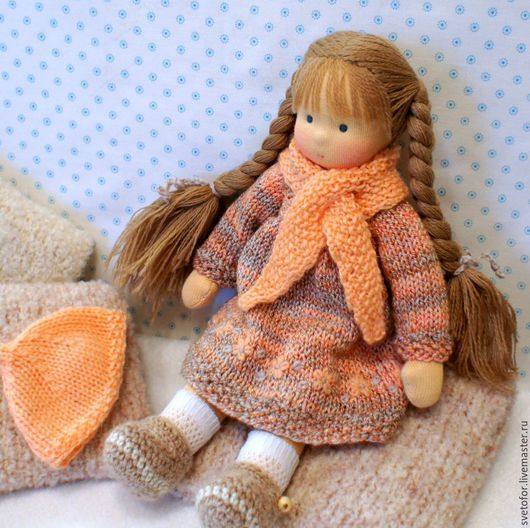 Вальдорфская игрушка ручной работы. Ярмарка Мастеров - ручная работа. Купить Кнопочка, 25 см. Handmade. Разноцветный, текстильная кукла