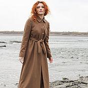 Одежда ручной работы. Ярмарка Мастеров - ручная работа Длинное осеннее пальто в пол, коричневый шерстяной драп. Handmade.