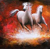 """Картины и панно handmade. Livemaster - original item """"Running horse"""" based on the painting of Willem Haenraets. Handmade."""