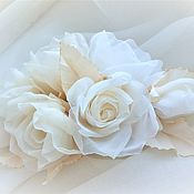 Украшения handmade. Livemaster - original item CLIPS: A sprig of milk roses in her hair. Handmade.