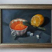 """Картины и панно ручной работы. Ярмарка Мастеров - ручная работа Картина маслом """"Чай с лимоном"""". Handmade."""