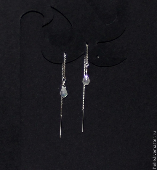Серьги ручной работы. Ярмарка Мастеров - ручная работа. Купить Маленькие серьги серебро 925 протяжки с лунным камнем Оттепель. Handmade.