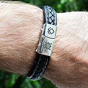 Украшения handmade. Livemaster - original item Bracelet of silver 925 and leather with runes Odal and Star of Russia. Handmade.