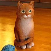 Для дома и интерьера ручной работы. Ярмарка Мастеров - ручная работа Рыжий кот - скульптура резная деревянная. Handmade.