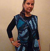 Одежда ручной работы. Ярмарка Мастеров - ручная работа Жилет валяный двухсторонний Фантазия в синем. Handmade.