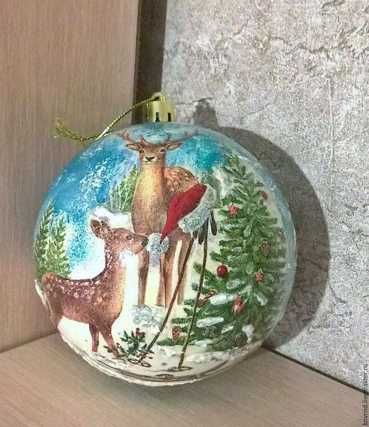 """Новый год 2017 ручной работы. Ярмарка Мастеров - ручная работа. Купить шар на елку   """" У леса на опушке"""". Handmade."""