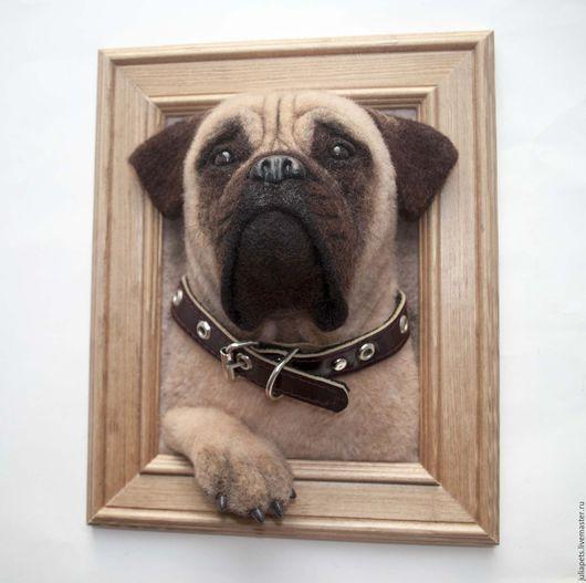 Животные ручной работы. Ярмарка Мастеров - ручная работа. Купить Панно собаки мастиф. Handmade. Комбинированный, собака из шерсти
