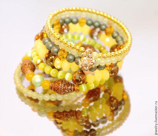 """Браслеты ручной работы. Ярмарка Мастеров - ручная работа. Купить Браслет """"Yellow"""". Handmade. Желтый, браслет из камней, многорядный браслет"""