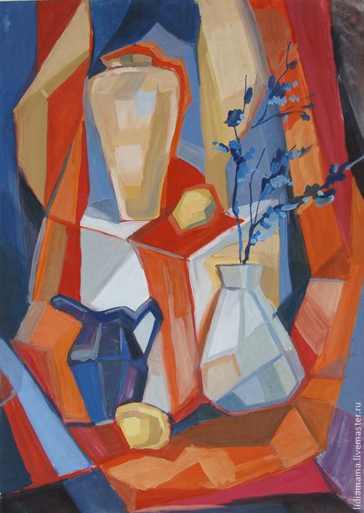 Картина. Натюрморт с синими цветами Работа Татьяны Петровской