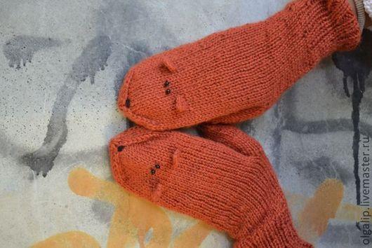 """Варежки, митенки, перчатки ручной работы. Ярмарка Мастеров - ручная работа. Купить Варежки """"Лисички"""" терракотовые. Handmade. Однотонный, лис"""
