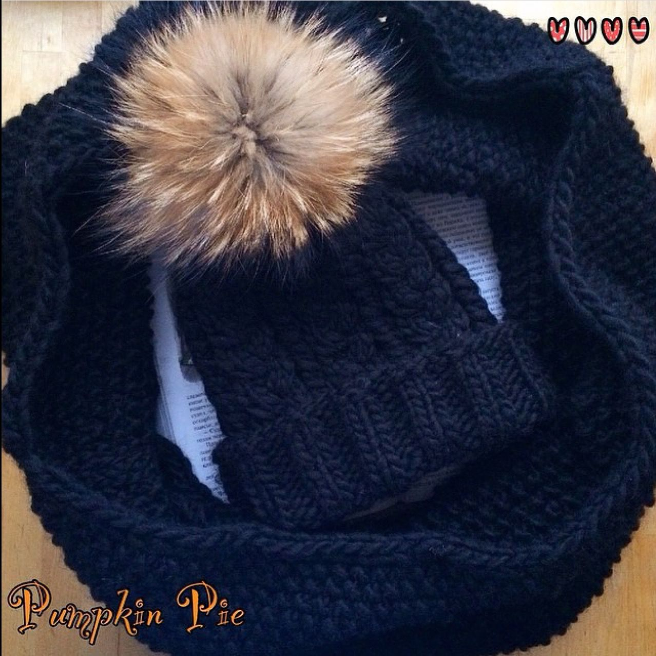 Black hat and Snood from warm Merino 'Graphite', Caps, St. Petersburg,  Фото №1