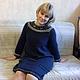 Платья ручной работы. Ярмарка Мастеров - ручная работа. Купить платье вязаное спицами. Handmade. Тёмно-синий, мохер, шёлк