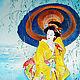 """Картина на шелке """"Задумчивая Японка"""". Картины. Светлана Логинова. Интернет-магазин Ярмарка Мастеров.  Фото №2"""
