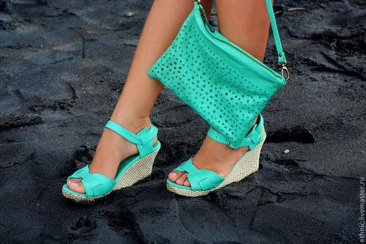Обувь ручной работы. Ярмарка Мастеров - ручная работа. Купить Туфли из натуральной кожи Jess. Handmade. Мятный, босоножки