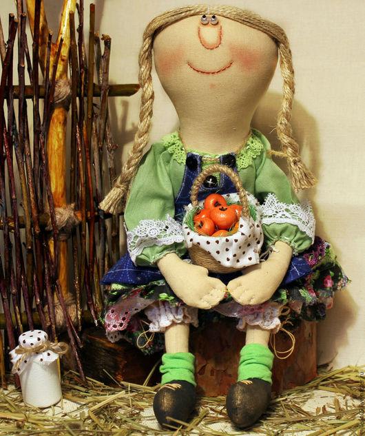 Коллекционные куклы ручной работы. Ярмарка Мастеров - ручная работа. Купить Текстильная интерьерная кукла Дуняша. Handmade. Оливковый, ткань