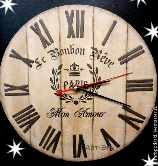 """Часы для дома ручной работы. Ярмарка Мастеров - ручная работа. Купить Часы """"Париж"""". Handmade. Коричневый, часы интерьерные"""