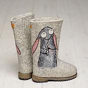 """Обувь ручной работы. Ярмарка Мастеров - ручная работа Валенки """"Зайцы"""" светлые. Handmade."""