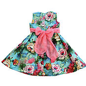 Одежда детская handmade. Livemaster - original item Baby cotton dress with roses, size 122. Handmade.