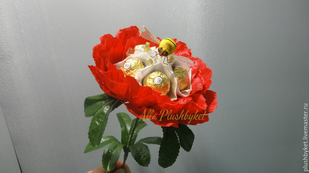 Сладкий пион с  ферреро роше, Букеты, Москва,  Фото №1